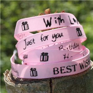 Sentiment Birthday Ribbon - Pearl Pink