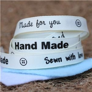 Sentiment Hand Made Ribbon - Cream