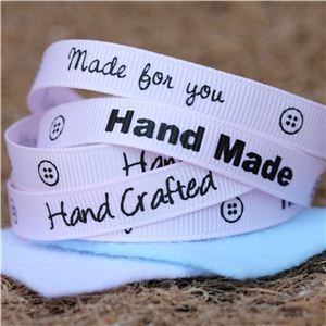 Sentiment Hand Made Ribbon - Pink
