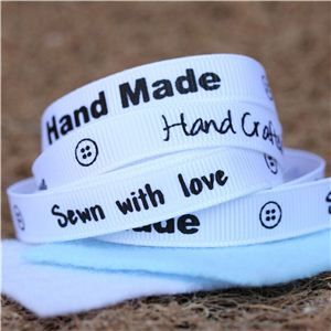 Sentiment Hand Made Ribbon - White