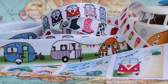 summer festival ribbons with camper vans