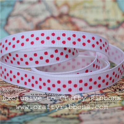 Grosgrain Ribbon - Swiss Dot White/Strawberry Milkshake