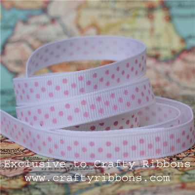 Grosgrain Ribbon - Swiss Dot White/Candyfloss