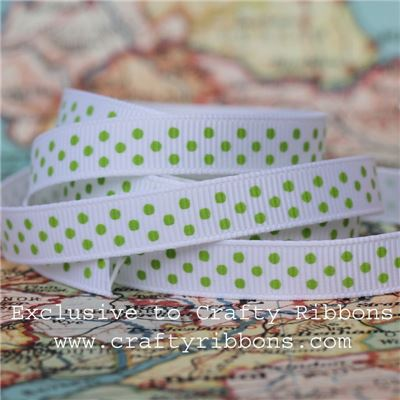Grosgrain Ribbon - Swiss Dot White/Grass