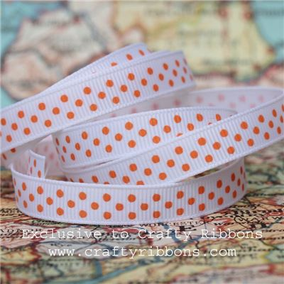 Grosgrain Ribbon - Swiss Dot White/Sunset