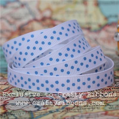 Grosgrain Ribbon - Swiss Dot White/Sky