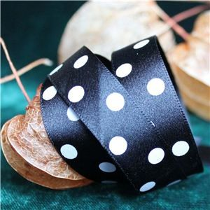 Halloween Ribbon - Black Polka Dot