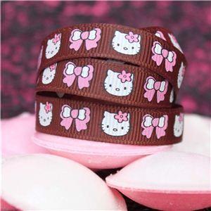 Kitty Ribbon - 10mm Kitty Face & Bow Brown