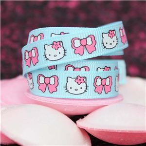 Kitty Ribbon - 10mm Kitty Face & Bow Turq