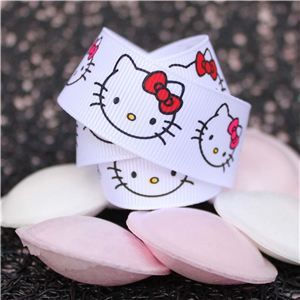 Hello Kitty Ribbon - 25mm Kitty Face