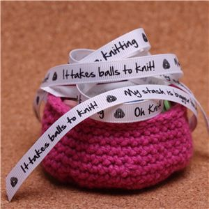 Knit Ribbons - 10mm Sentiment White