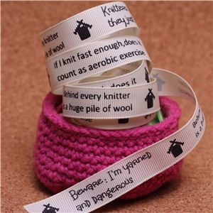 Knit Ribbons - 15mm Sentiment Cream