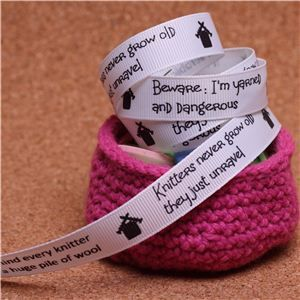 Knit Ribbons - 15mm Sentiment White