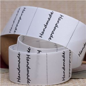 Handmade Ribbon Label - Handmade/Ant White