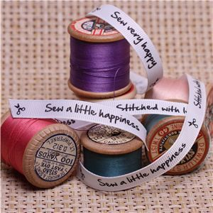 Sew Ribbons - 10mm Sentiment White