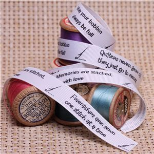 knit and sew sentiment ribbons