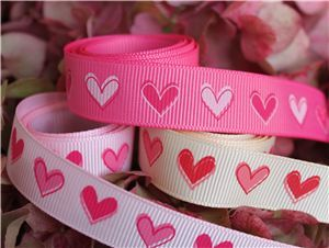 16mm single heart grosgrain ribbon