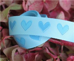 16mm Single Heart Ribbon - Blue Topaz