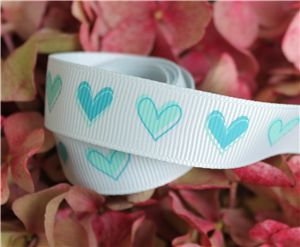 16mm Single Heart Ribbon - Blue Vapour
