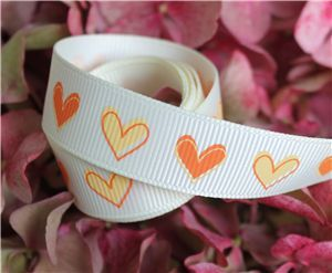 16mm Single Heart Ribbon - Candlelight