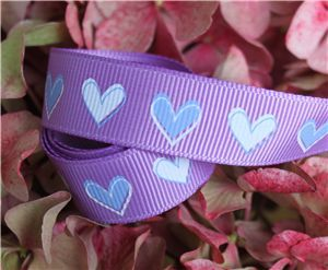 16mm Single Heart Ribbon - Grape