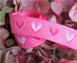 16mm Single Heart Ribbon - Hot Pink
