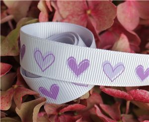 16mm Single Heart Ribbon - Lilac Mist