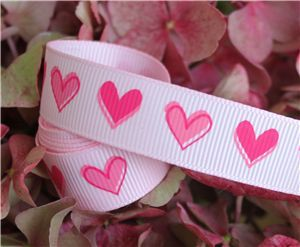 16mm Single Heart Ribbon - Pearl Pink