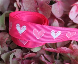 16mm Single Heart Ribbon - Shocking Pink