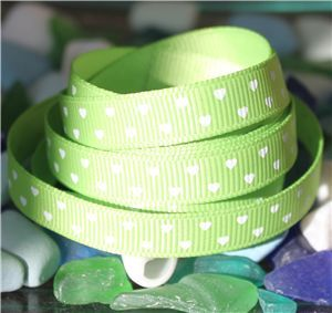 Mini Heart Ribbon - Apple Green