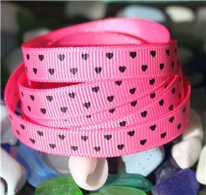 Mini Heart Ribbon - Hot Pink