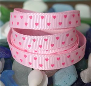 Mini Heart Ribbon - Pearl Pink