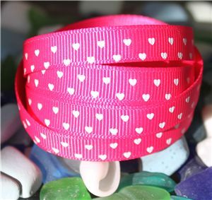 Mini Heart Ribbon - Shocking Pink