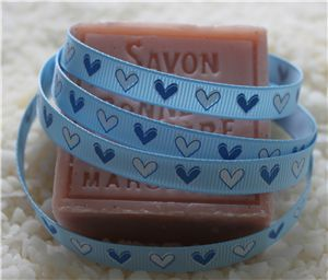10mm Single Heart Ribbon - Blue Topaz