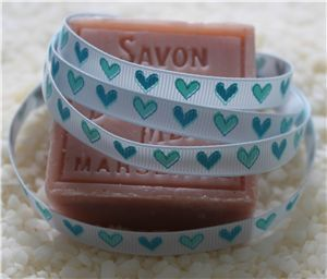 10mm Single Heart Ribbon - Blue Vapour