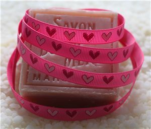 10mm Single Heart Ribbon - Hot Pink
