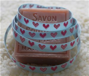 10mm Single Heart Ribbon - Light Blue
