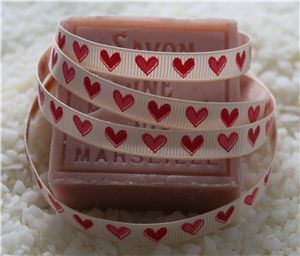 10mm Single Heart Ribbon - Nude