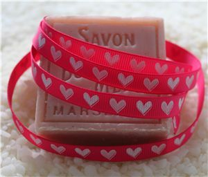 10mm Single Heart Ribbon - Shocking Pink