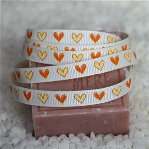 10mm Single Heart Ribbon - Candlelight