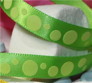 Marshmallow Dot Ribbon - Lime