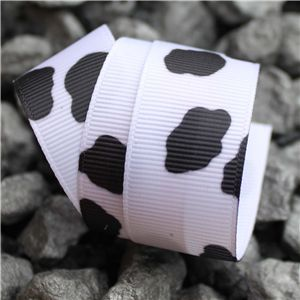 Monochrome Ribbons - 25mm Cow Print Grosgrain