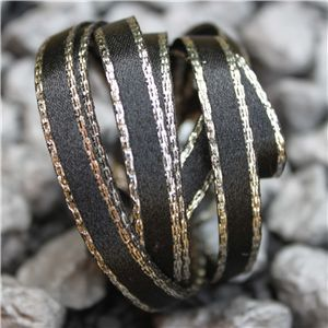 Monochrome Ribbons - 7mm Silver Edge Black Satin