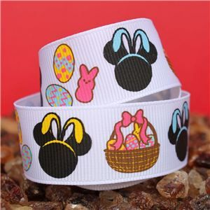 Mouse Head  Ribbon - Easter White
