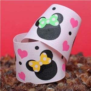 Mouse Head  Ribbon - 39mm Pink