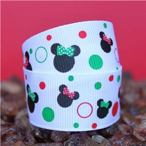 Mouse Head  Ribbon - Christmas Dots