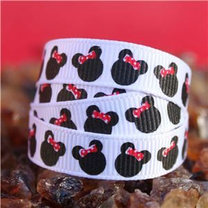 Mouse Head  Ribbon - Mini Dotty Red Bow