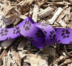 Paw Print Ribbon - Grape Grosgrain