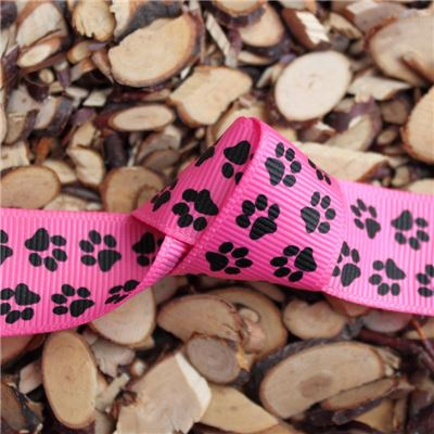 Paw Print Ribbon - 25mm Pink Grosgrain