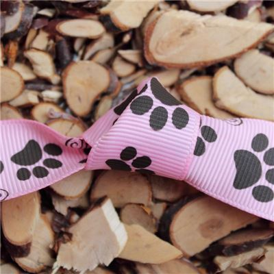 Paw Print Ribbon - 25mm Pink/Black Grosgrain